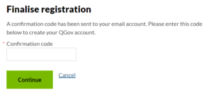 queensland government confirmation code
